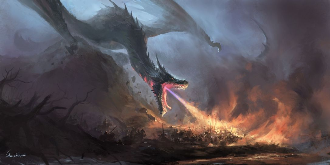 Hi, I try to painting a dragon to burn the army and try to make the picture more coordinated_